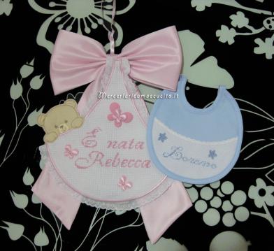 Fiocco nascita sacco rosa È nata Rebecca e bavetta prima misura per Lorenzo