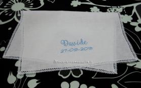 Set lenzuolino per carrozzina con palloncini e asciugamano battesimo per Davide