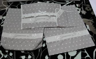 Set per nascita - Sacchetto, busta portaoggetti e tovaglioli personalizzati per Ginevra
