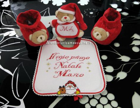 Bavetta primo Natale Per Marco, babbucce e orsetto con iniziali