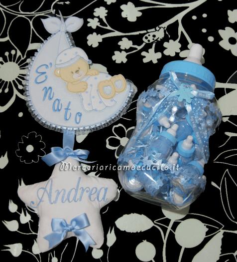 Fiocco nascita celeste sacco con orsetto E' nato per Andrea e biberon porta bomboniere