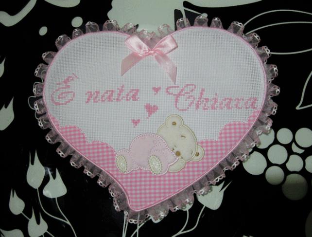 Fiocco nascita cuore rosa È nata Chiara