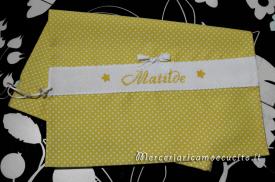 Sacchetto nascita e asilo pois con fiocchetto per Matilde