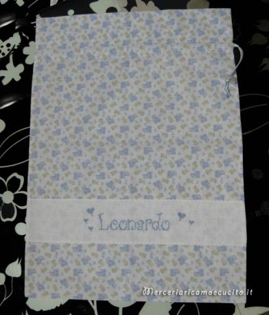 Set per nascita - Fiocco nascita macchina, sacchetti e bavette per Leonardo