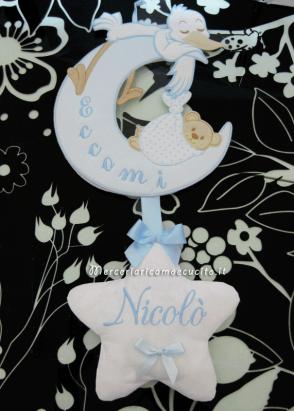 "Fiocco nascita luna celeste ""Eccomi"" per Nicolò"