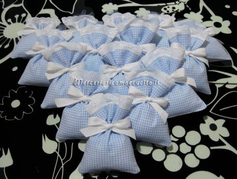 Sacchettini bomboniere portaconfetti quadrettati