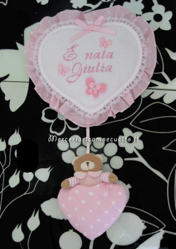 Fiocco nascita cuore pois rosa con orsetto