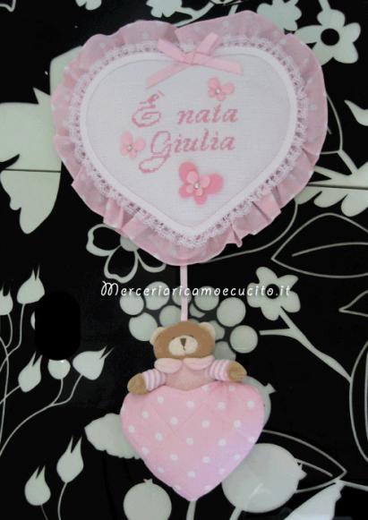 """Fiocco nascita cuore pois rosa con orsetto """"È nata Giulia"""""""