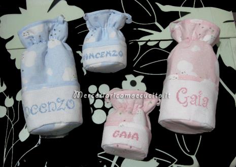 Porta biberon e ciuccio fantasia con nuvole per Vincenzo e Gaia