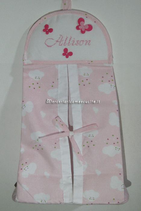 Porta pannolini fantasia con nuvole rosa per allison gift - Porta pannolini ikea ...