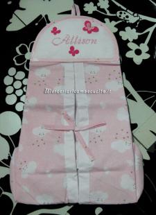 Porta pannolini fantasia con nuvole rosa per Allison