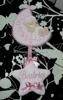 Set-per-nascita---Sacchetto trapunato beauty pois e fiocco nascita saccco è nata per Beatrice