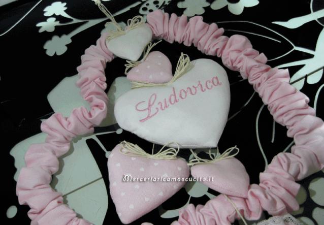 Fiocco nascita cuore con cuorini per Ludovica