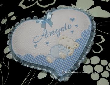 """Fiocco nascita cicogna celeste """"È nato"""" e fiocco nascita cuore celeste per Angelo"""