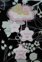 Fiocchi nascita luna con cicogna, orsetto su nuvola e sacco rosa per Sofia