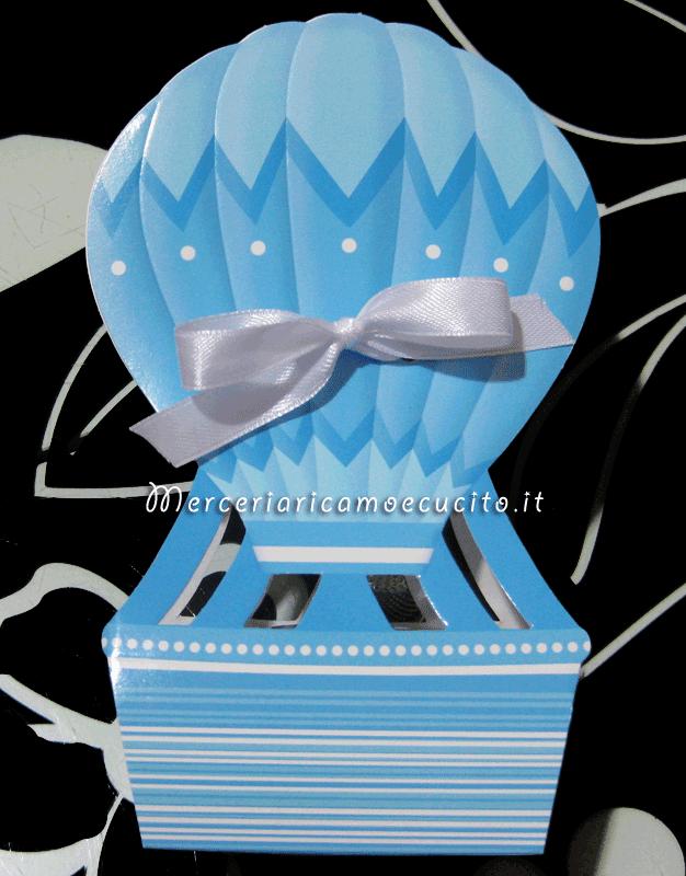 Scatolina bomboniera portaconfetti mongolfiera per bambino