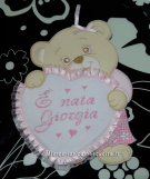 Set per nascita - Lenzuolino, sacchetti nascita e fiocco nascita orsetto con cuore per Giorgia