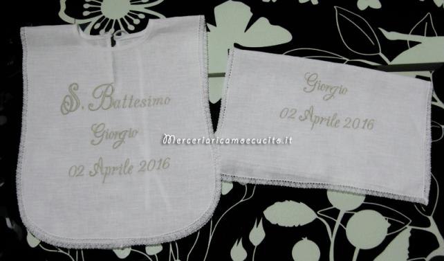 Camicina battesimale con asciugamano per il battesimo di Giorgio