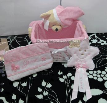 Cestino con orsetto, bustina e fiocco nascita stellina per Gioia