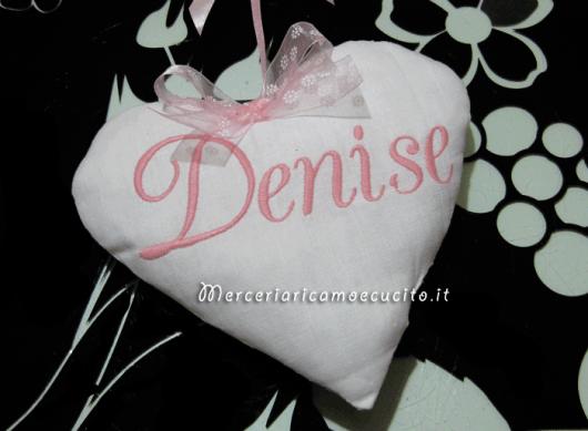 Fiocchi nascita luna con cicogna e cuore per Denise