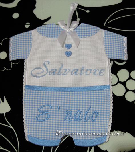 Fiocco nascita abitino celeste per Salvatore