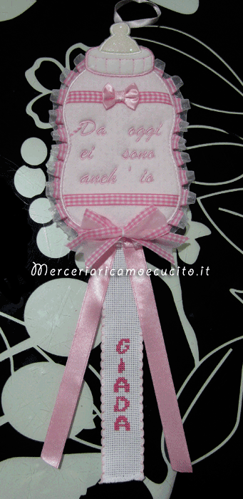 Fiocco nascita biberon rosa per Giada