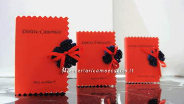 Bomboniera portaconfetti a forma di libro con esami Laurea in giurisprudenza per Elisa