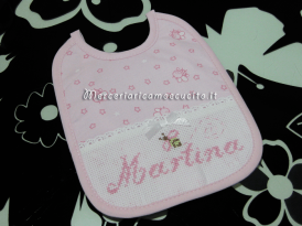 Fiocco nascita cicogna, fiocco stellina e bavetta con apine per Martina