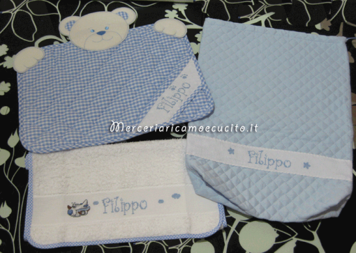 Sacchetto trapuntato, tovaglietta con orsetto e asciugamano per Filippo