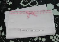 Set asilo - Sacchetto in nido d'ape, busta porta oggetti, asciugamani e bavette per Caterina