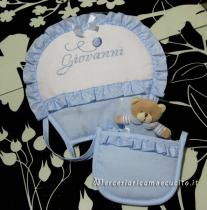 Set corredino per nascita - Fiocco nascita mongolfiera, bavetta, lenzuolino, asciugamano e magliette auto per Giovanni
