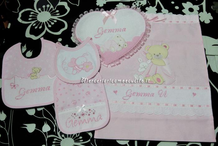Set per nascita - Fiocco nascita, bavette e sacchetto elegante con orsetto per Gemma
