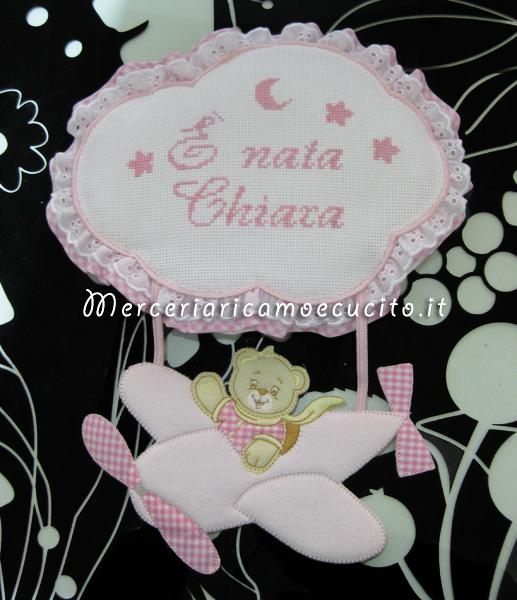 """Fiocco nascita aeroplano rosa """"È nata Chiara"""""""