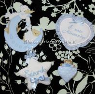 Fiocco nascita luna con cicogna eccomi per Edoardo e fiocco nascita cuore pois per Alessandro
