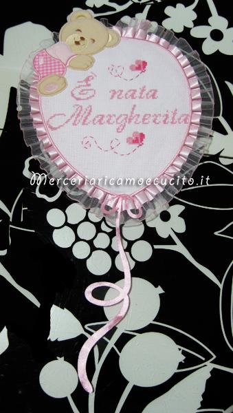 Fiocco nascita palloncino rosa e sacchetto nascita e asilo con farfalla per Margherita