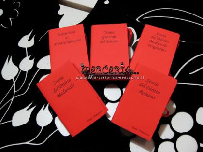 Bomboniera portaconfetti a forma di libro con esami Laurea in giurisprudenza per Francesco