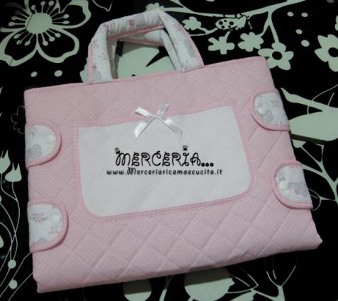 Borsa fasciatoio rosa fantasia con orsetti e pois