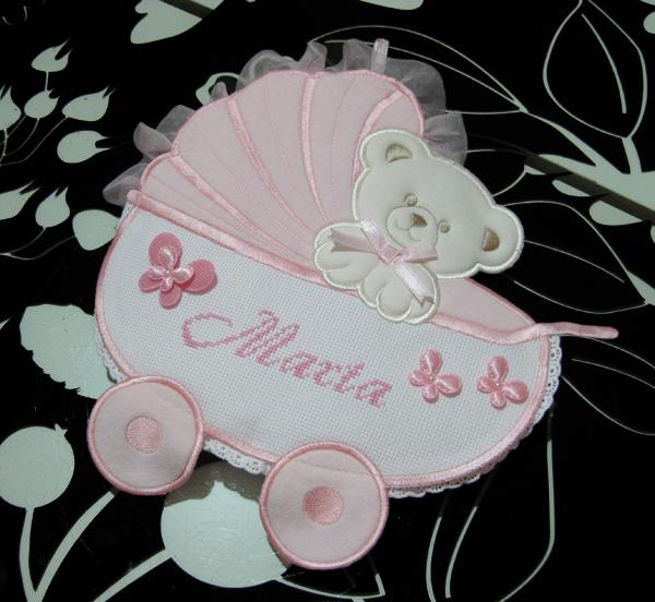 Fiocco nascita carrozzina rosa per Marta