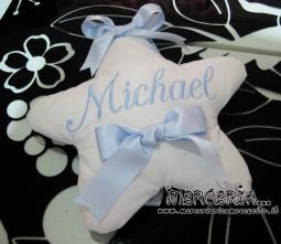 Fiocco nascita con stelle celeste e stellina per Michael