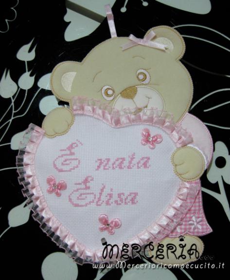 """Fiocco nascita orsetto con cuore """"È nata Elisa"""""""
