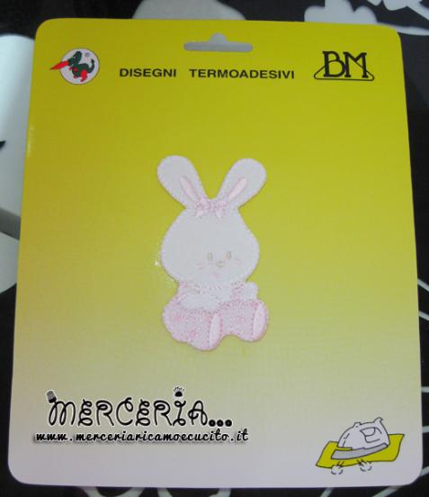 Applicazione termoadesiva coniglietto rosa