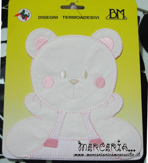 Applicazione termoadesiva orsetto affettuoso rosa