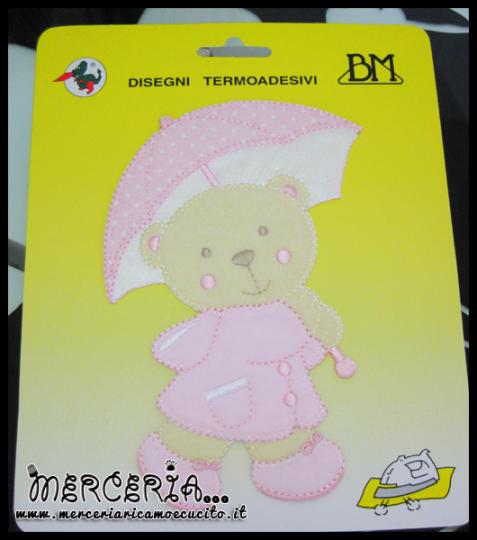Applicazione termoadesiva orsetto con ombrello rosa