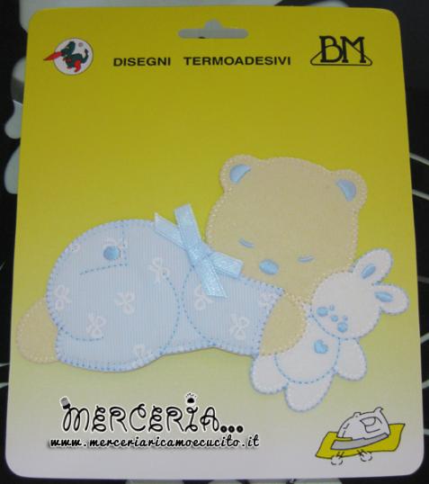 Applicazione termoadesiva orsetto nanna con peluche coniglietto celeste