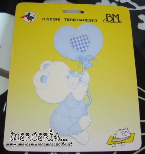Applicazioni termoadesiva orsetto con palloncino cuore celeste