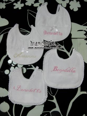 Fiocco nascita cicogna È nata Martina e bavette personalizzate per Martina e Benedetta
