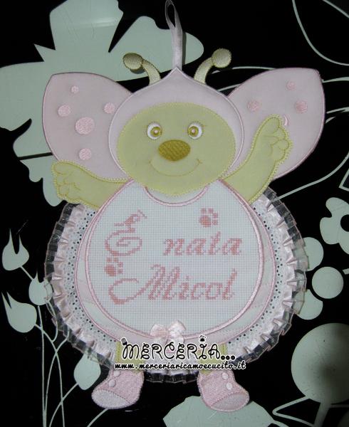 Fiocco nascita coccinella e orsetto su cestino con palloncini per Micol