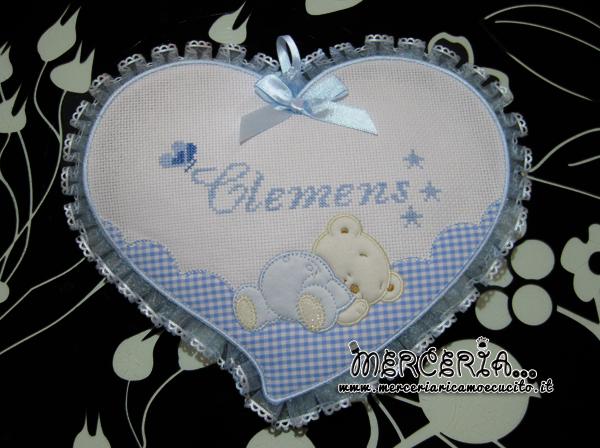 Fiocco nascita cuore celeste per Clemens