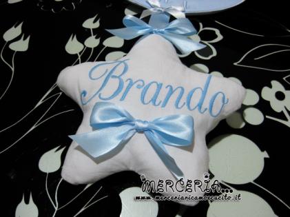 """Fiocco nascita luna celeste """"Eccomi"""" con cicogna e stella per Brando"""