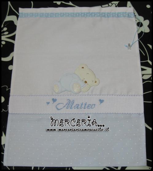 Fiocco nascita macchina e sacchetti nascita per Matteo